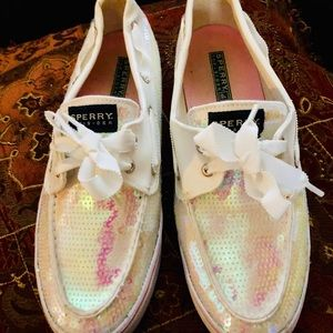 Womens Sperry Sequin top slider size 9 1/2